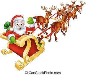 Santa and Reindeer Christmas Sleigh - Cartoon Santa Claus...