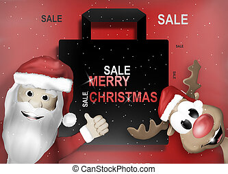 Santa and Reindeer Happy Christmas Feeling Cartoon