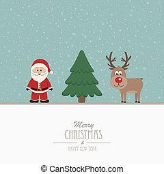 santa and reindeer merry christmas