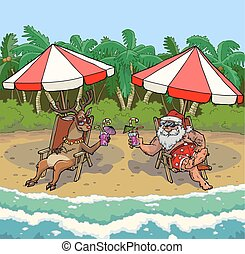 Santa and reindeer on a tropical beach