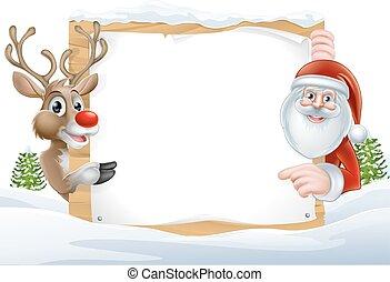Santa and Reindeer Sign - Cartoon Reindeer and Santa...
