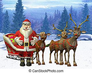 santa and reindeer - 3d render
