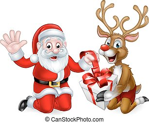 Santa and Reindeer with Christmas Gift - Santa Claus and his...