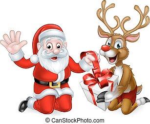 Santa and Reindeer with Christmas Gift