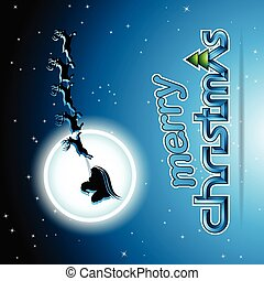 Santa and Reindeers Over a Blue Background Vector Illustration