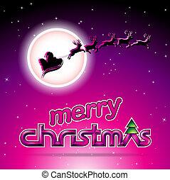 Santa and Reindeers Over a Magenta Background Vector Illustration