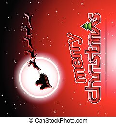 Santa and Reindeers Over a Red Background Vector Illustration