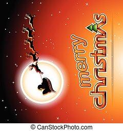 Santa and Reindeers Over an Orange Background Vector Illustration