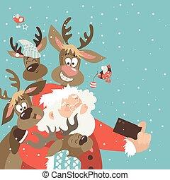 Santa and reindeers take a selfie. Vector illustration