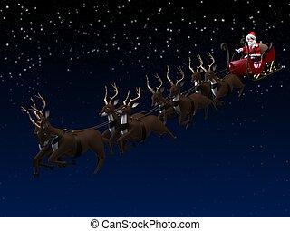 santa and sleigh - 3d rendered illustration of santas sleigh...