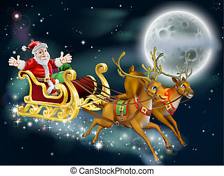 Santa and Sleigh - A Christmas illustration of Santa and...