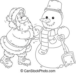 Santa and snowman - Father Christmas making a funny smiling ...