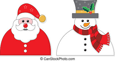 Santa and Snowman Graphic - Graphic of Santa and a Snowman. ...