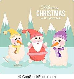 Santa and snowman on a cheerful holiday card