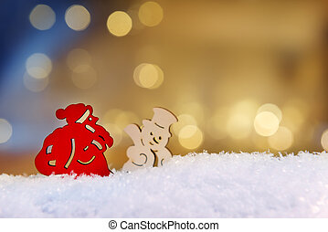 Santa and snowman with bokeh lights