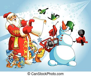 Santa and snowman.eps - Illustration for Christmas and New...