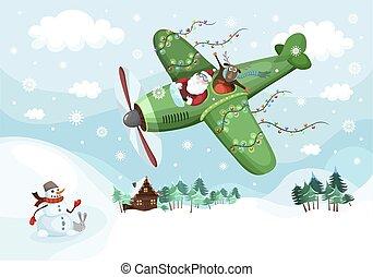 Santa and the deer