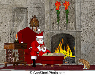 Santa contemplates what little girls and boys should be on the naughty and nice list.