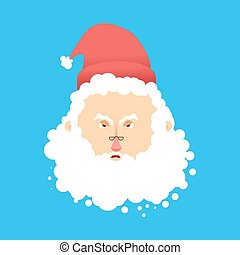 Santa angry Emoji. Aggressive Santa Claus. head of grandfather with beard and mustache isolated. Christmas avatars
