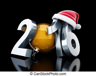santa, ano, novo, 2016, chapéu, feliz