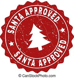 SANTA APPROVED Grunge Stamp Seal with Fir-Tree