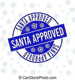 Santa Approved Scratched Round Stamp Seal for New Year