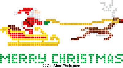 santa, arte, navidad, trineo, pixel