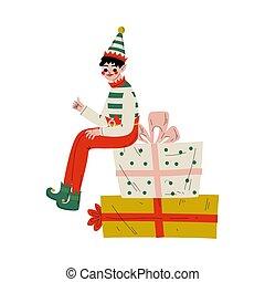 santa, assistant, mignon, boîtes, claus, garçon, elfe, caractère, séance, cadeau, illustration, vecteur, noël