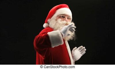 Santa at party - Cheerful Santa Claus partying on Christmas...