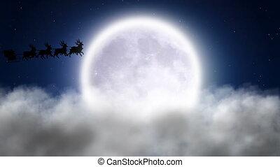 santa, aus, wolkenhimmel