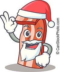 Santa bacon mascot cartoon style vector illustration