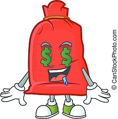 Santa bag close with Money eye cartoon character design