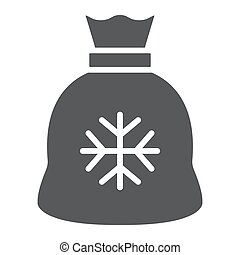Santa bag gyph icon, christmas and holiday, present sign, vector graphics, a solid pattern on a white background.