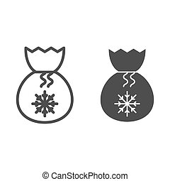 Santa bag line and glyph icon. Present bag with snoflake vector illustration isolated on white. Christmas bag outline style design, designed for web and app. Eps 10.