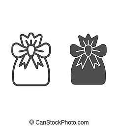 Santa bag line and glyph icon. Xmas bag with present vector illustration isolated on white. Present bag outline style design, designed for web and app. Eps 10.