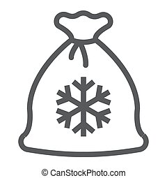 Santa bag line icon, christmas and gift, christmas sack sign, vector graphics, a linear pattern on a white background.