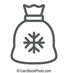 Santa bag line icon, christmas and holiday, present sign, vector graphics, a linear pattern on a white background.