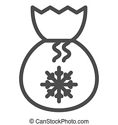 Santa bag line icon. Present bag with snoflake vector illustration isolated on white. Christmas bag outline style design, designed for web and app. Eps 10.