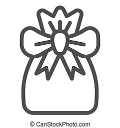Santa bag line icon. Xmas bag with present vector illustration isolated on white. Present bag outline style design, designed for web and app. Eps 10.