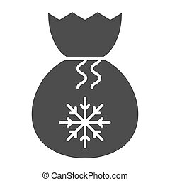 Santa bag solid icon. Present bag with snoflake vector illustration isolated on white. Christmas bag glyph style design, designed for web and app. Eps 10.