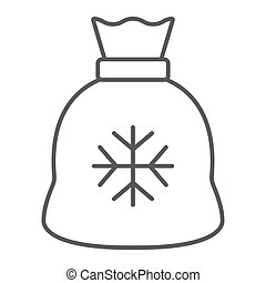 Santa bag thin line icon, christmas and holiday, present sign, vector graphics, a linear pattern on a white background.