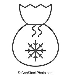 Santa bag thin line icon. Present bag with snoflake vector illustration isolated on white. Christmas bag outline style design, designed for web and app. Eps 10.
