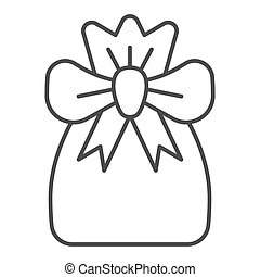 Santa bag thin line icon. Xmas bag with present vector illustration isolated on white. Present bag outline style design, designed for web and app. Eps 10.