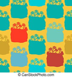 Santa bag with gifts seamless pattern. Big sack holiday ornament. Background for Christmas. New Year texture