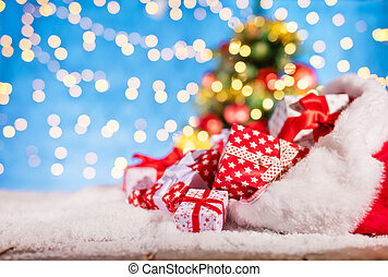 Santa bag with pile of gifts