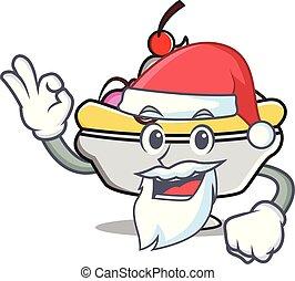 Santa banana split mascot cartoon vector illustration