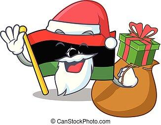 santa, bandera, clings, pared, libia, regalo, mascota