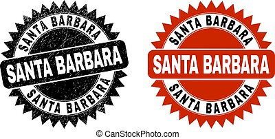 SANTA BARBARA Black Rosette Stamp with Scratched Surface
