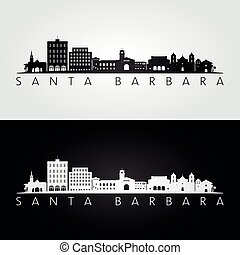 Santa Barbara, California skyline and landmarks silhouette, black and white design, vector illustration.