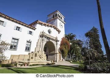 santa barbara, california, storico, palazzo di giustizia
